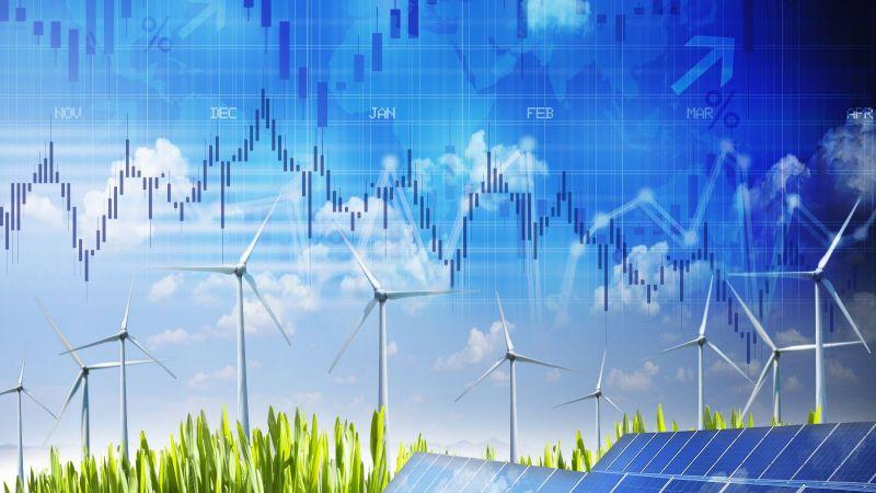 Das Bild ist eine Fotomontage. Es zeigt Soarpaneele und Windräder sowie dazu Aktienkurse im Hintergrund.