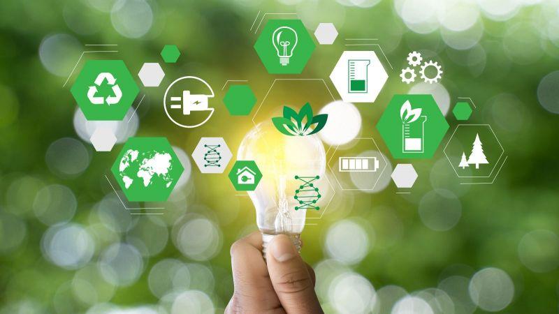 Das Foto zeigt eine leuchtende Glühbirne und dazu verschiedene Symbole zum Thema erneuerbare Energie - zum Beispiel die Symbole für Wald und Recycling.