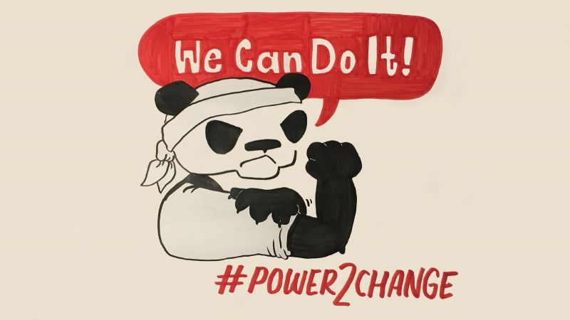 Das Bild zeigt einen Panda, der die Faust reckt. Darüber steht: We can do it.
