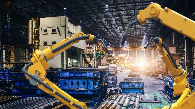 Das Foto zeigt eine automatisierte Fertigungsstraße der Industrie.