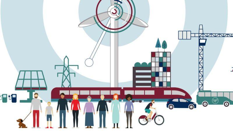 Das Bild zeigt eine Grafik auf der Menschen und verschiedene erneuerbare Energietechnologien dargestellt sind.