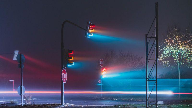 Das Foto zeigt eine leere Straße im Nebel, auf der drei Ampeln stehen, deren drei Lichter grün, gelb und rot allesamt leuchten.
