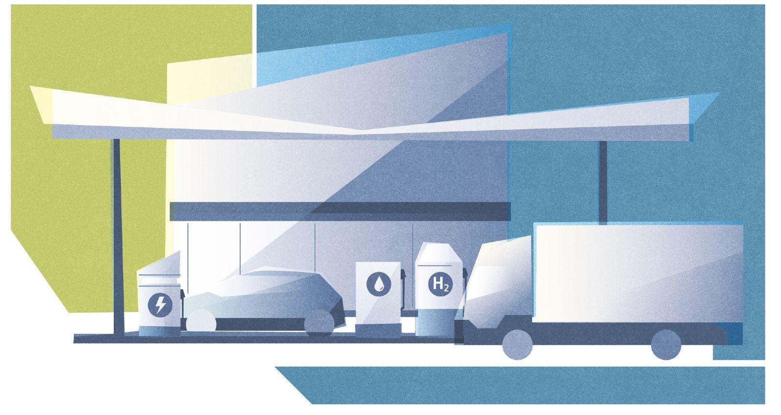 Das Bild zeigt eine Tankstelle mit Säulen für synthetischen Kraftstoff, Wasserstoff und Strom.