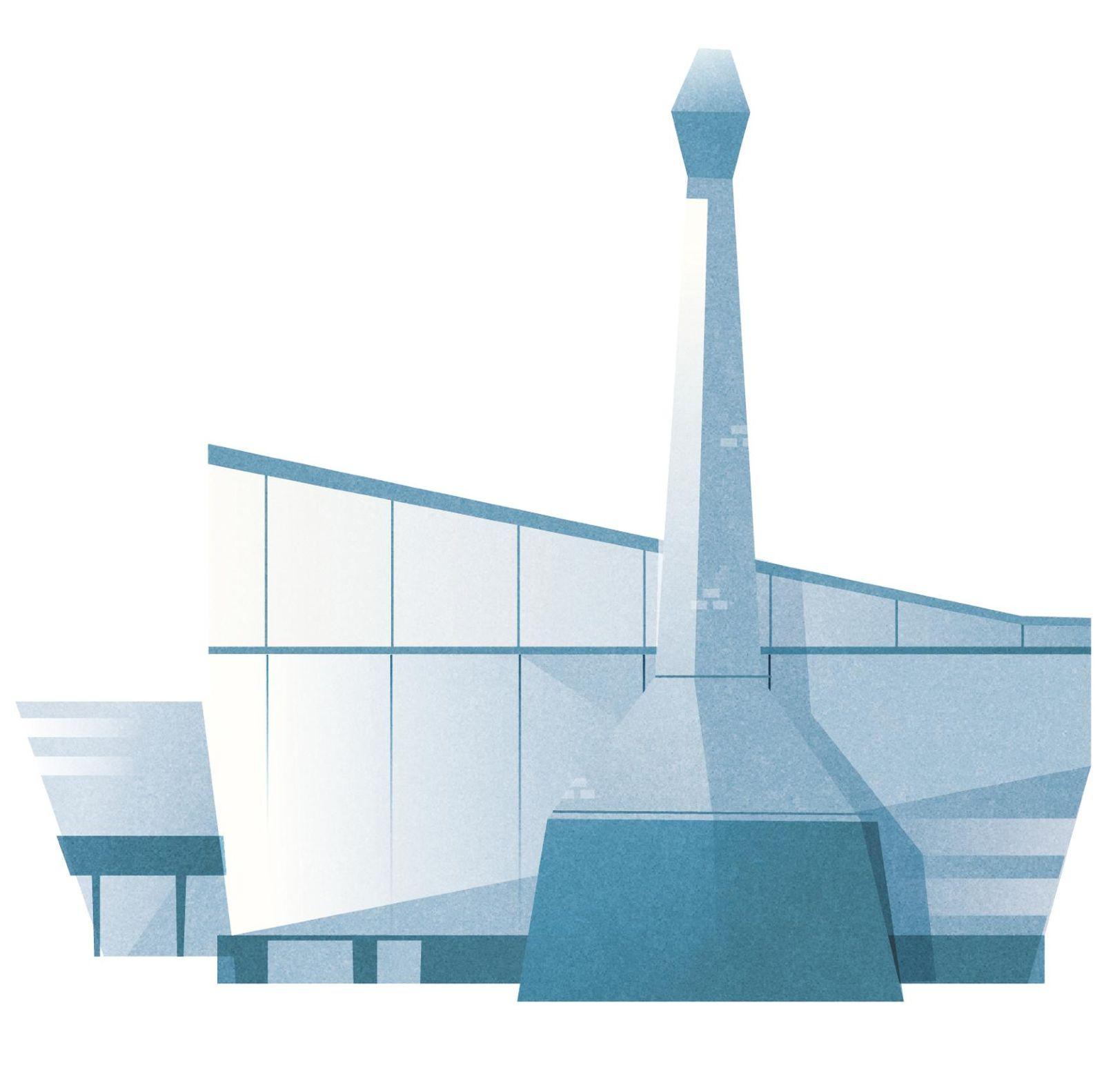 Das Bild ist die Zeichnung einer Metallfabrik.
