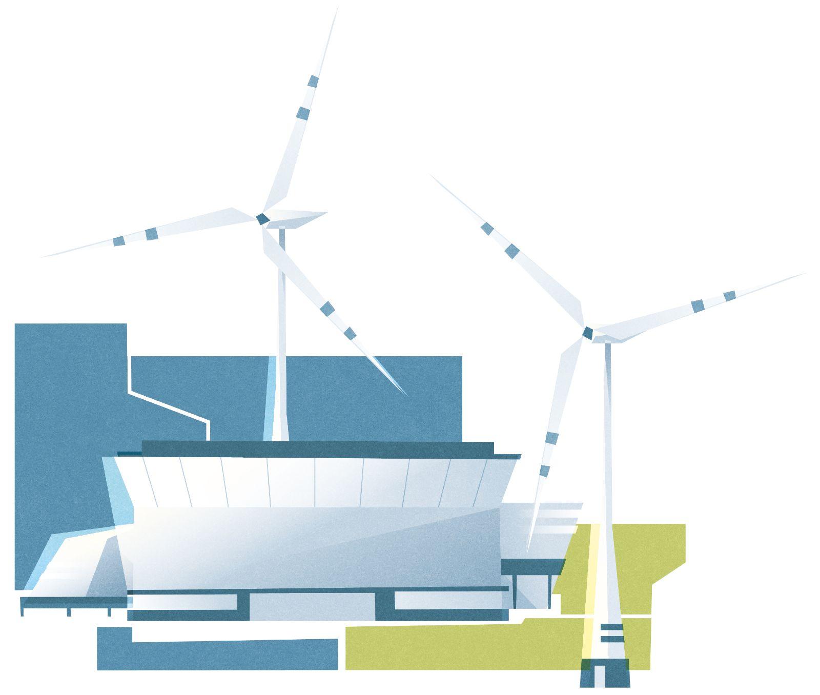 Das Bild zeigt eine Zeichnung eines Elektrolyseurs vor einem Windpark.