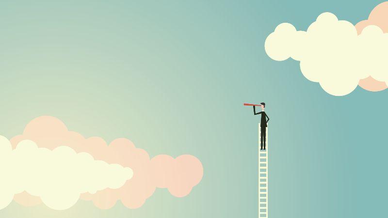 Das Bild zeigt die Grafik eines Mannes, der auf einer Leiter steht, die bis in den den Himmel ragt, und in die mit einem Fernrohr in den Himmel blickt.