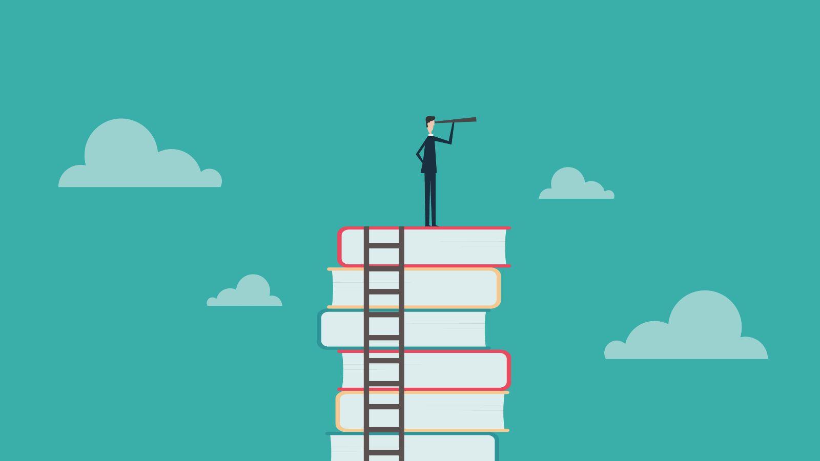 Das Bild ist eine Zeichnung. Es zeigt einen Mann mit einem Fernrohr, der auf einem Stapel Bücher steht.