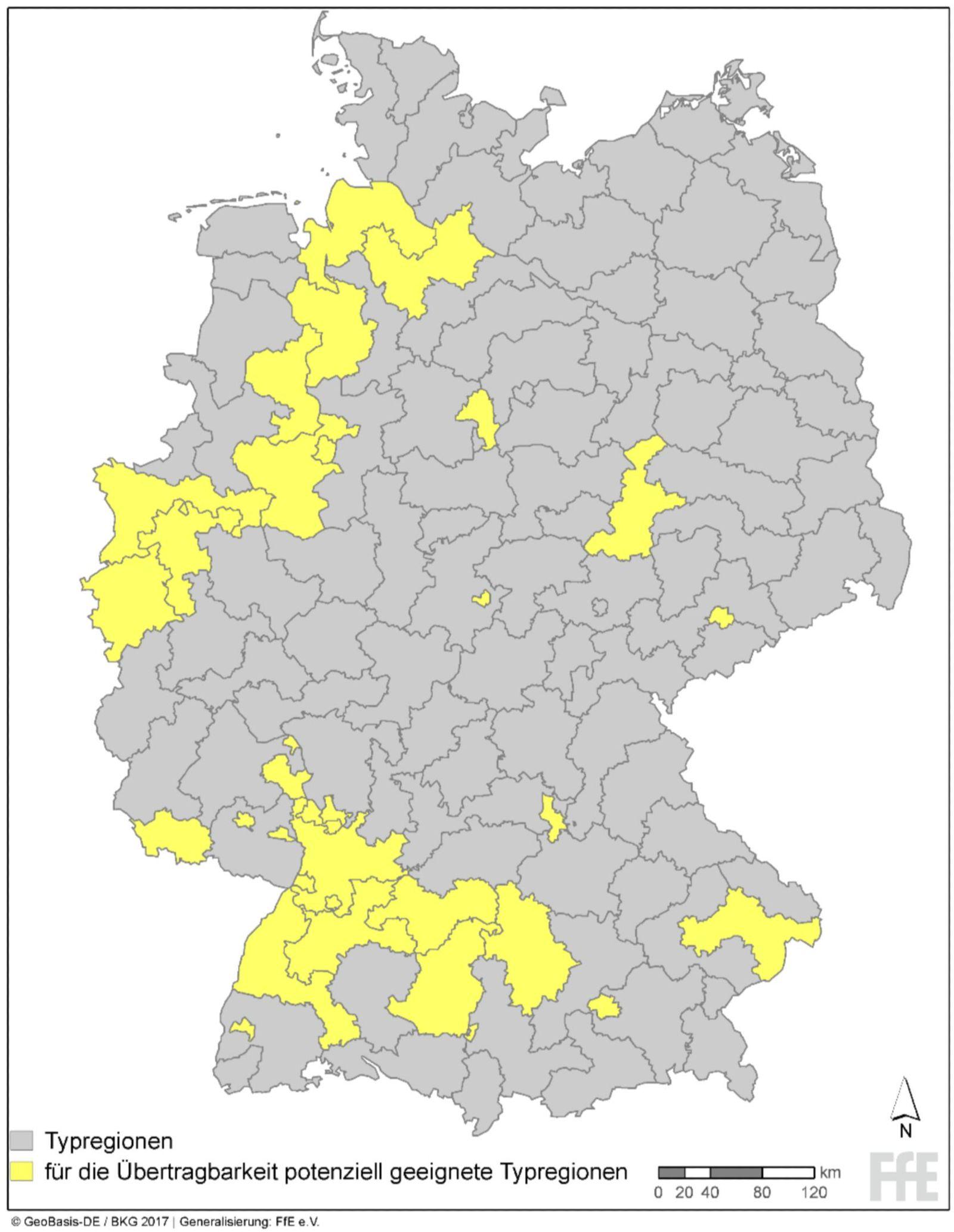 Das Bild zeigt eine Deutschlandkarte, auf der diejenigen Gebiete markiert sind, auf die sich die Ergebnisse aus Augsburg übertragen lassen.