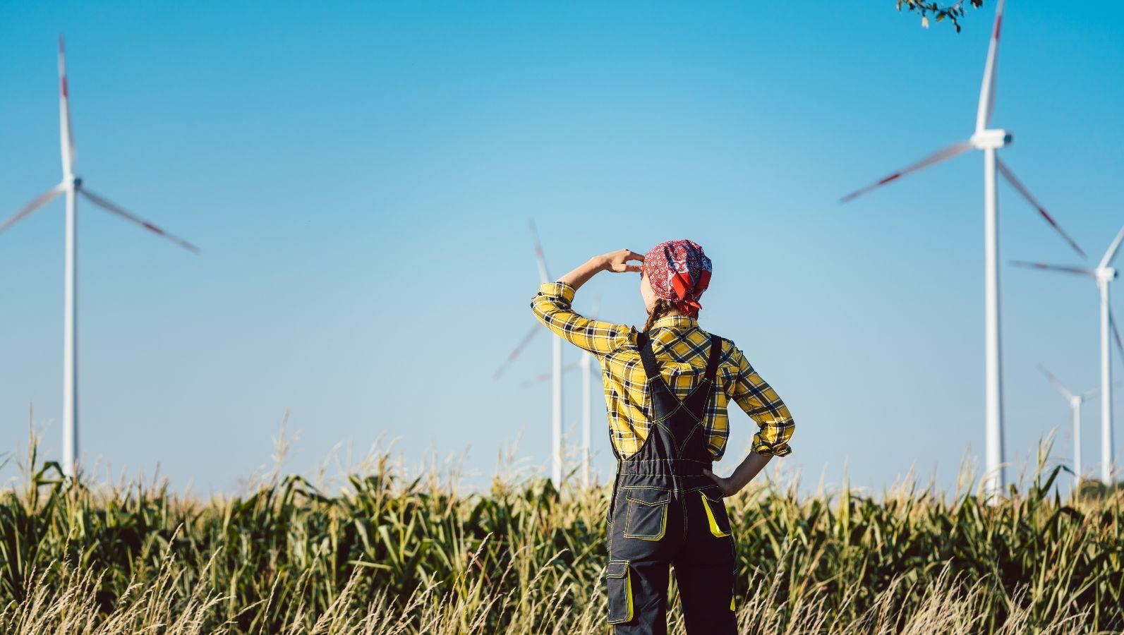 Das Bild zeigt eine Bäuerin, die auf ein Feld voller Windräder schaut.