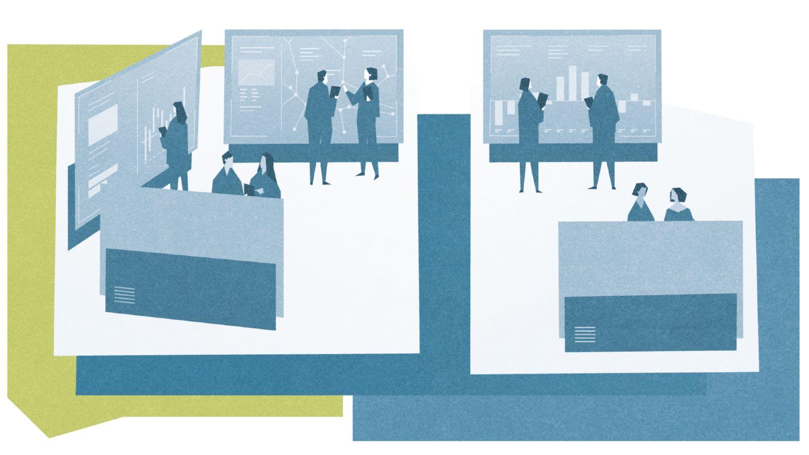 Das Bild zeigt Mitarbeiter eines digitalen Umschaltwerks, die vor einer Wand mit Analysen diskutieren.