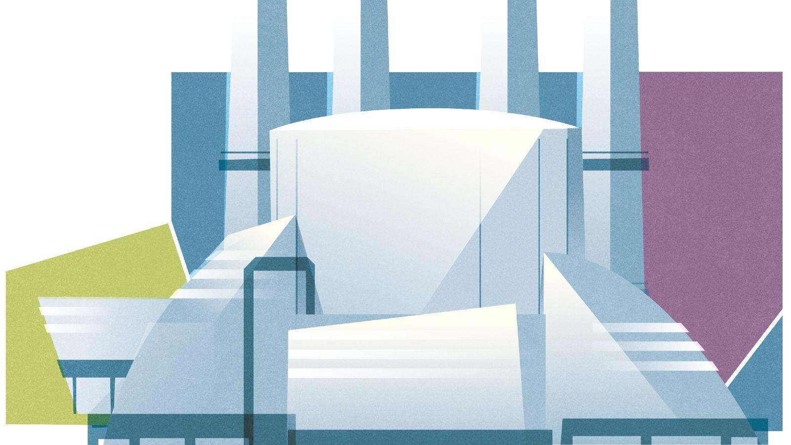 Das Bild zeigt die Zeichnung eines Chemiewerks.
