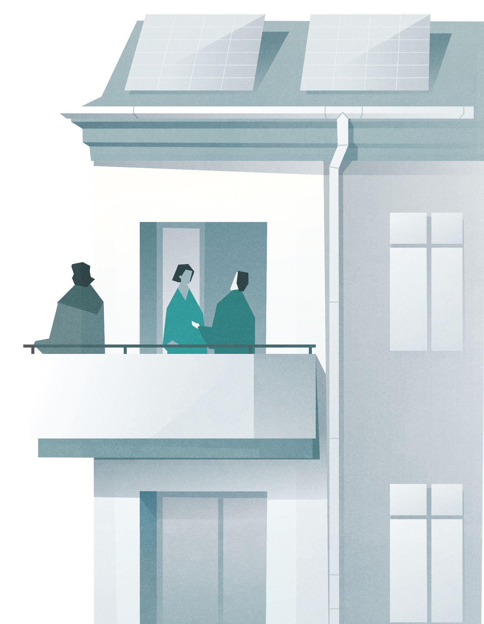 Das Bild zeigt Kopernikus, der auf dem Balkon eines Mehrfamilienhauses steht und in die Ferne starrt.