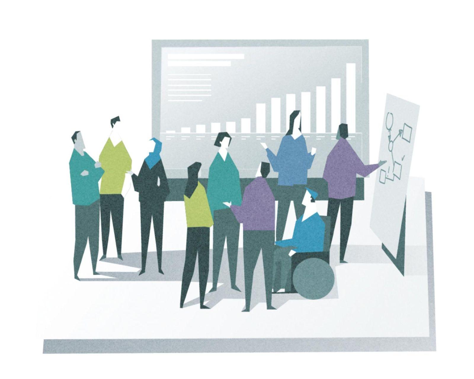 Das Bild zeigt Bürger, die miteinander diskutieren und dabei statistische Analysen auswerten.