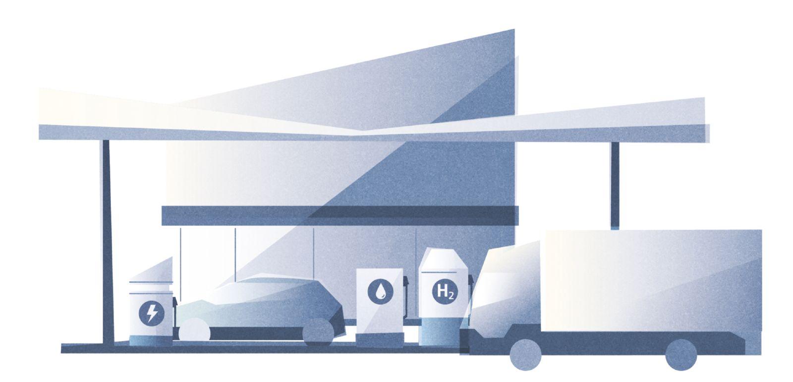 Das Bild zeigt eine Tankstelle, an der Fahrzeuge Strom, Wasserstoff und eFuels tanken können.