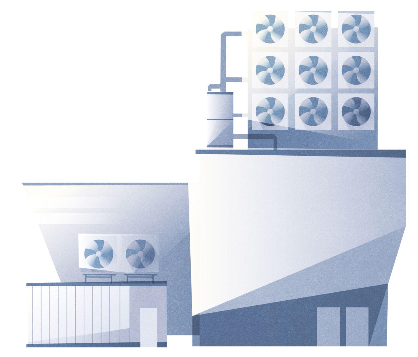 Das Bild zeigt eine Luft-zu-Kraftstoffanlage mit Direct-Air-Capture-Modulen.