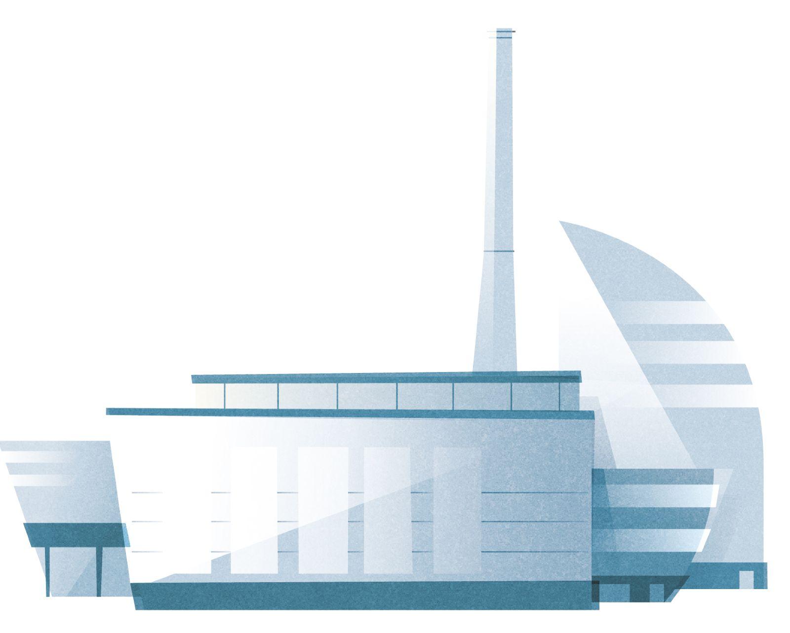 Das Bild zeigt eine Glasfabrik.