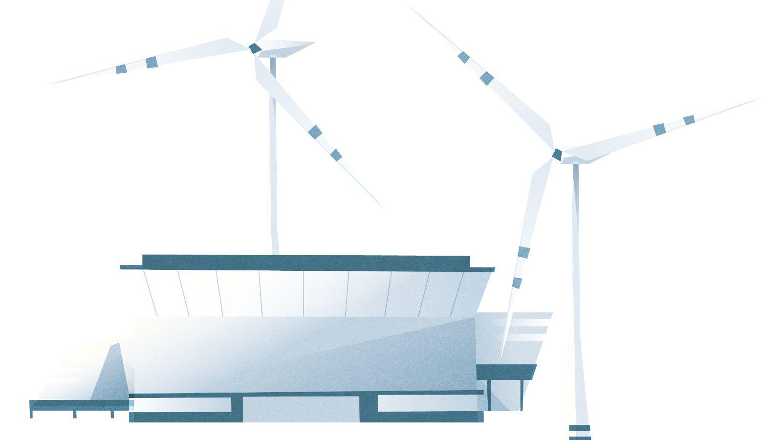 Das Bild zeigt einen Wasser-Elektrolyseur umgeben von zwei Windrädern.