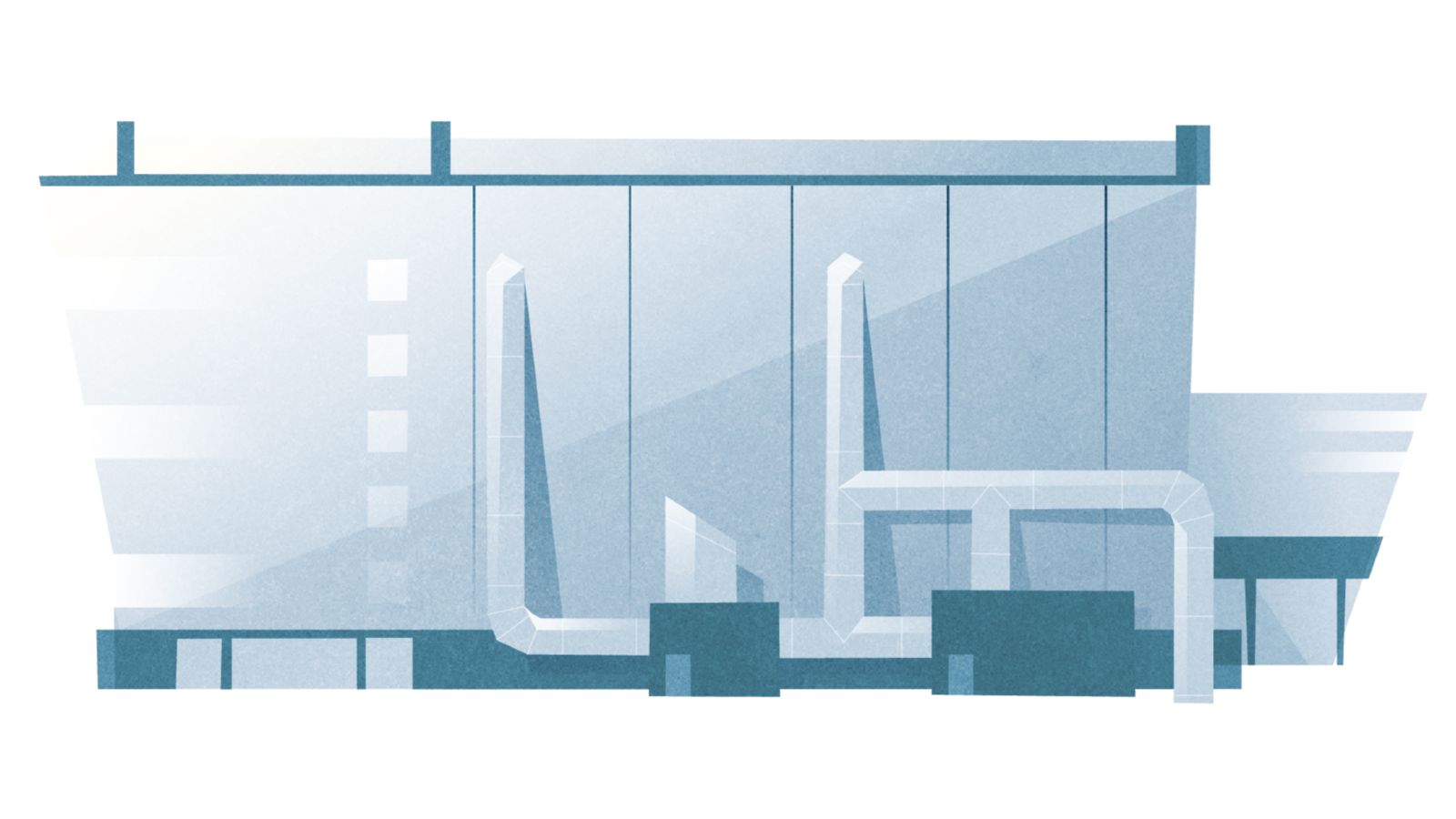Das Bild zeigt eine Fabrik mit hervorgehobenen Heiz- und Kühlanlagen.