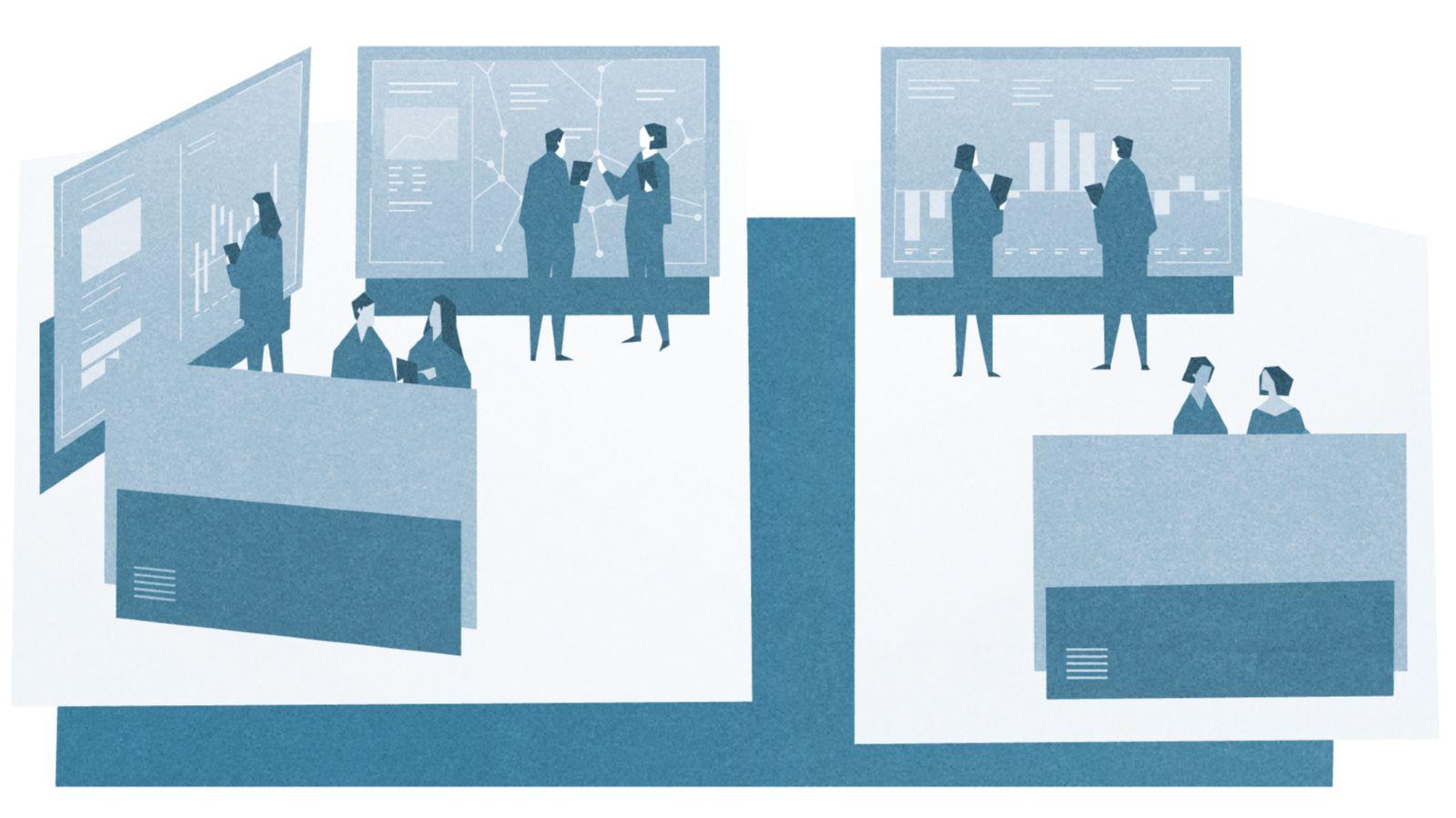 Das Bild zeigt Mitarbeiter eines digitalen Umschaltwerks für Analyse-Monitoren.