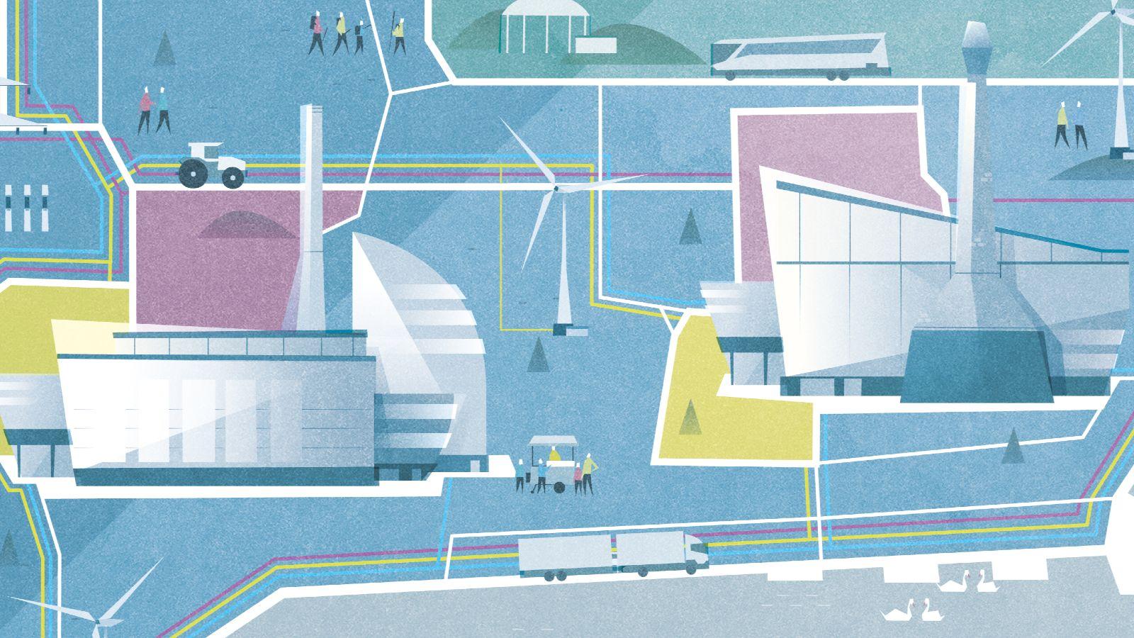 Das Bild zeigt einen Ausschnitt eines Posters, auf dem die Kopernikus-Projekte ihre Zukunftsvision darstellen.