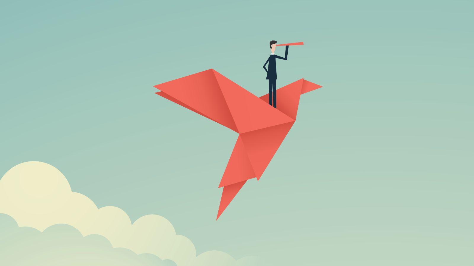 Das Bild ist eine Zeichnung. Es zeigt einen Mann mit einem Fernrohr, der auf einem gefalteten Vogel durch den Himmel fliegt.