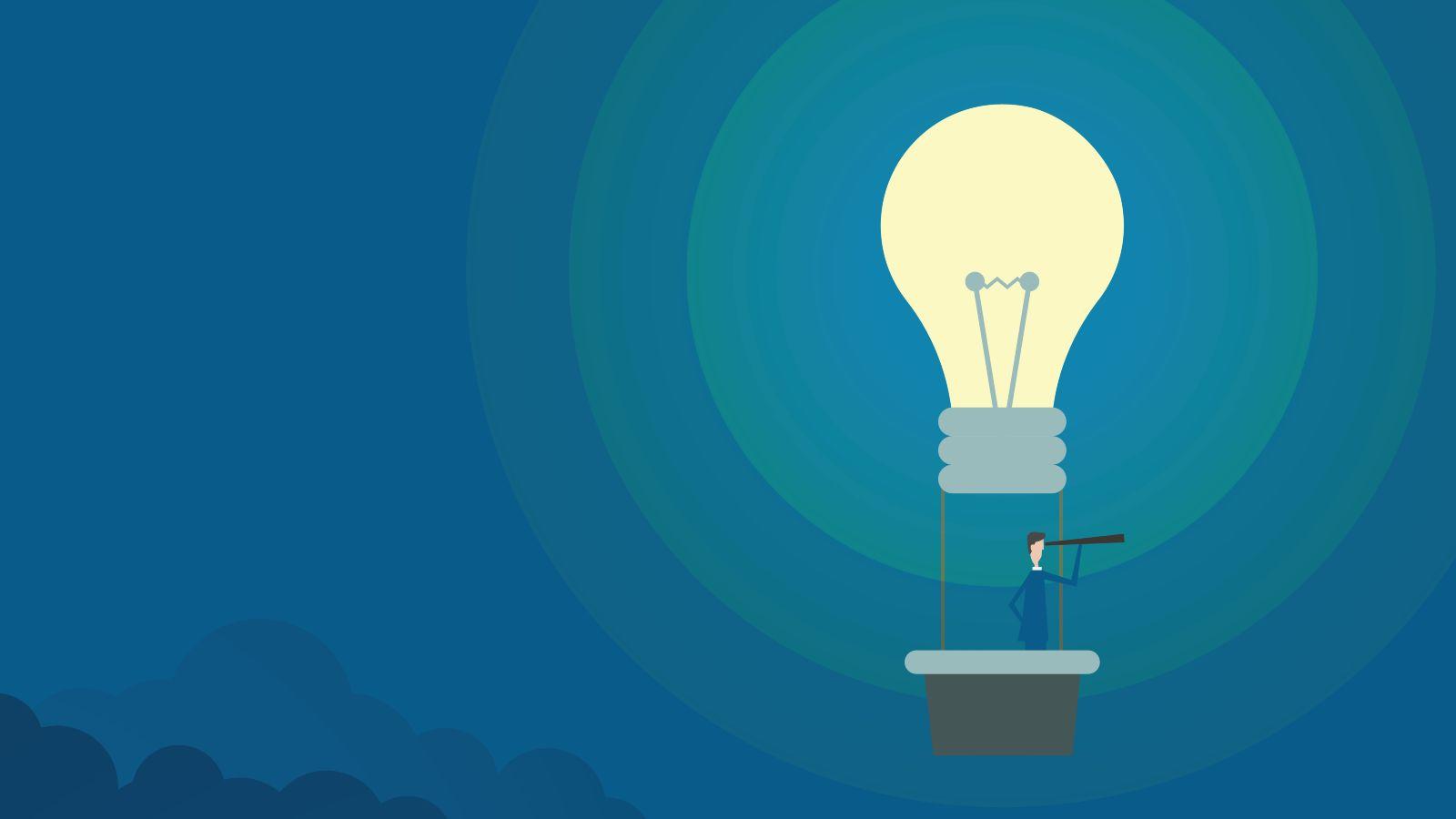 Das Bild ist eine Zeichnung. Es zeigt einen Mann mit einem Fernrohr in einem Heißluftballon - wobei der Ballon kein Ballon, sondern eine Glühbirne ist.