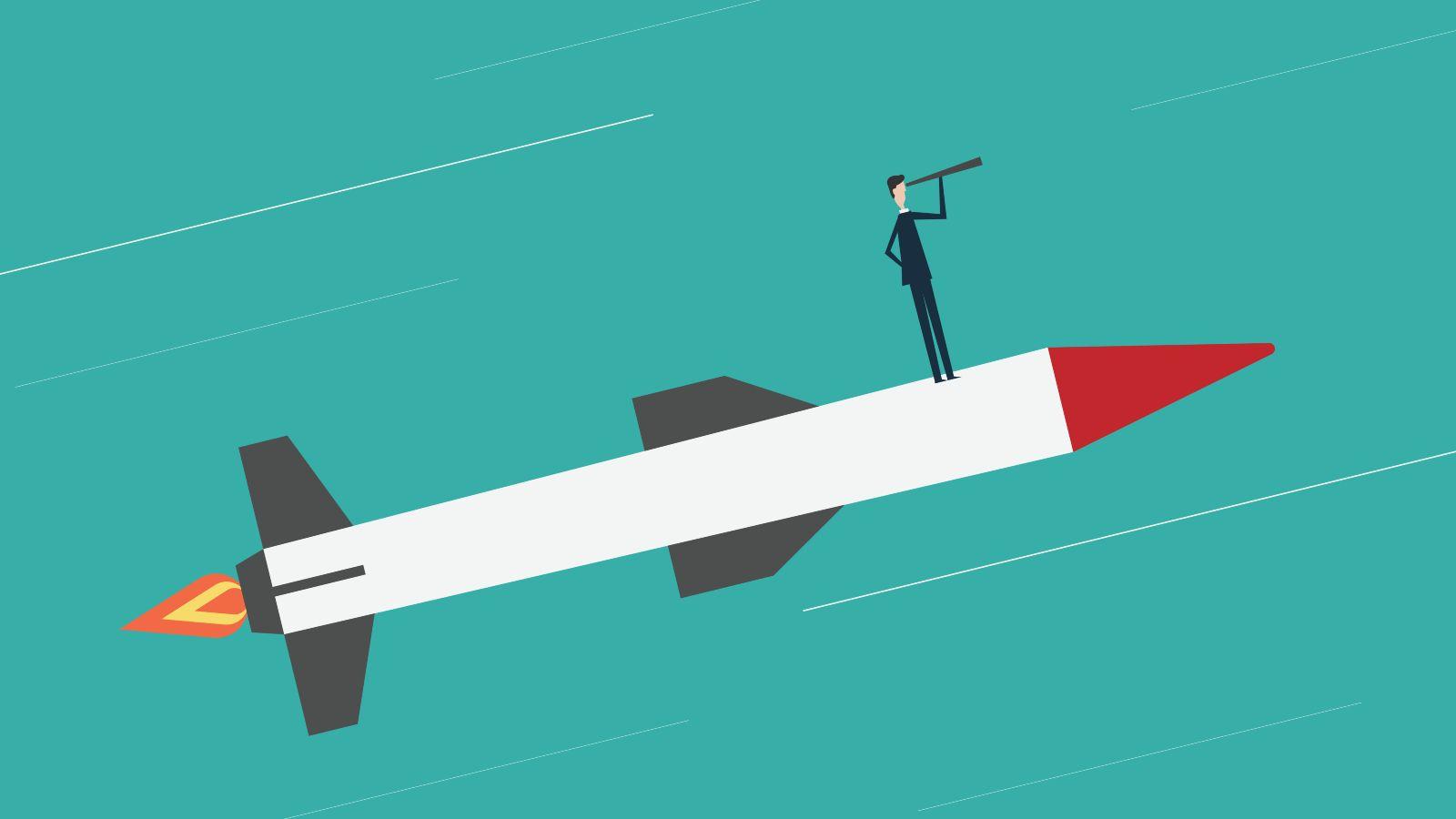 Das Bild ist eine Zeichnung. Es zeigt einen Mann, der auf einer Rakete durch das All fliegt und ein Fernrohr vor seine Augen hält.