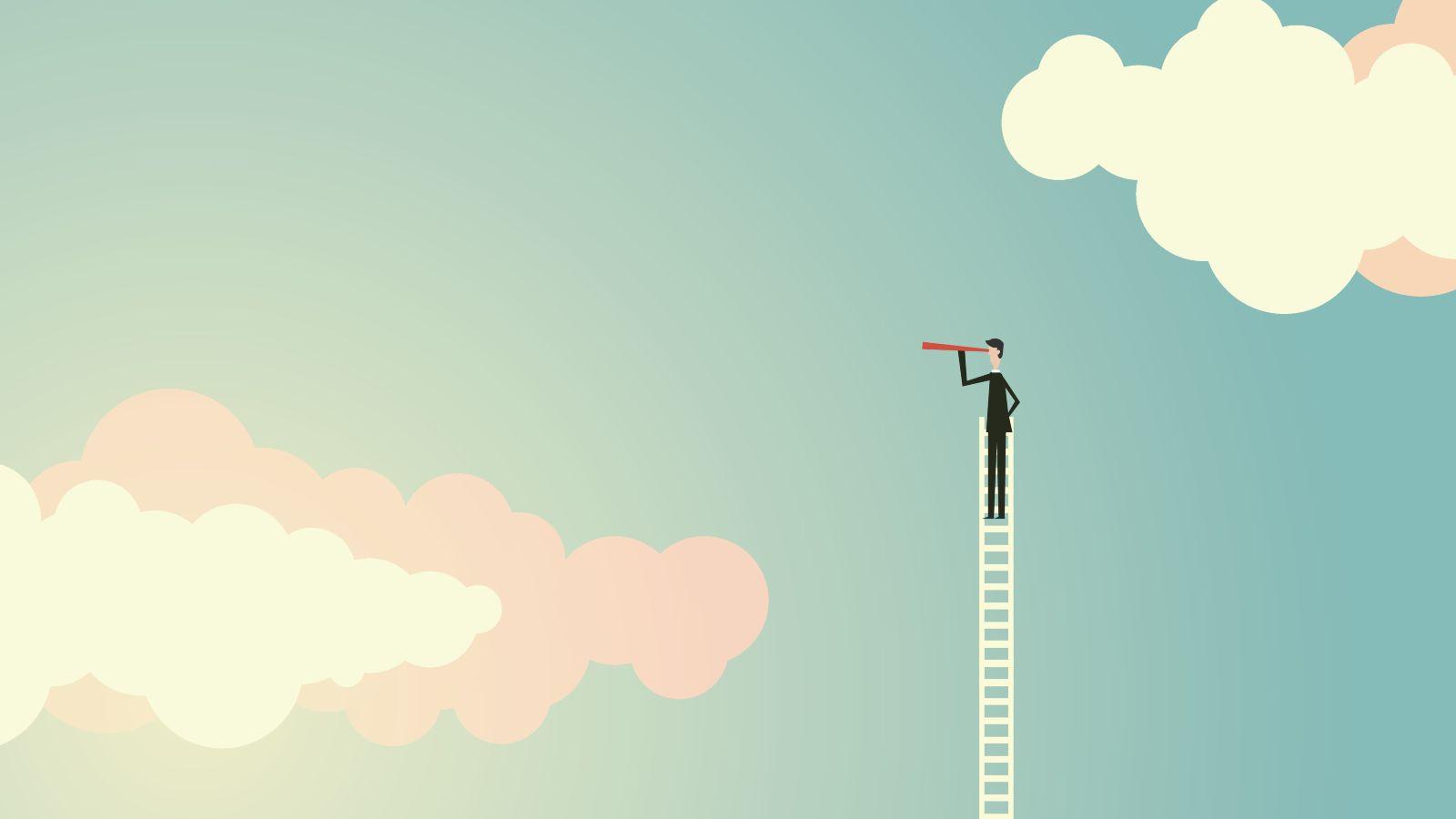 Das Bild ist eine Zeichnung. Sie zeigt einen Mann auf einer Leiter. Die Leiter reicht bis in die Wolken.